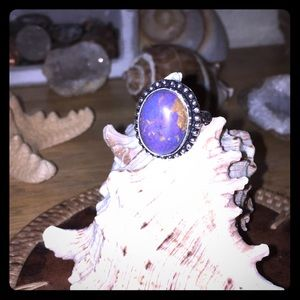 Sterling Silver Plated Purple Turquoise Ring